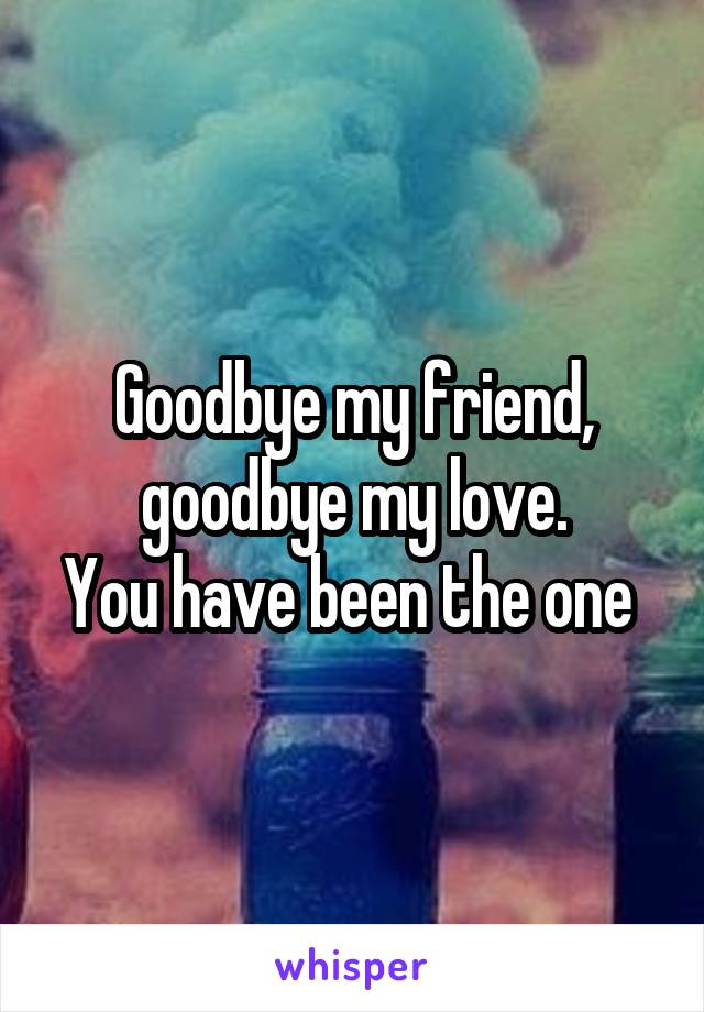 Goodbye my friend, goodbye my love. You have been the one