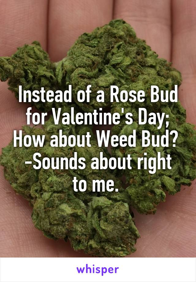 Instead of a Rose Bud for Valentine's Day; How about Weed Bud?  -Sounds about right to me.