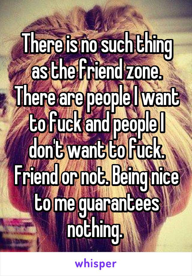 There is no such thing as the friend zone. There are people I want to fuck and people I don't want to fuck. Friend or not. Being nice to me guarantees nothing.