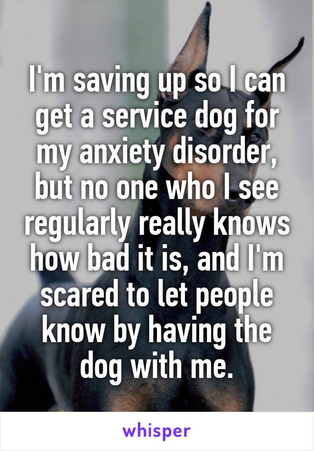 I'm saving up so I can get a service dog for my anxiety disorder, but no one who I see regularly really knows how bad it is, and I'm scared to let people know by having the dog with me.