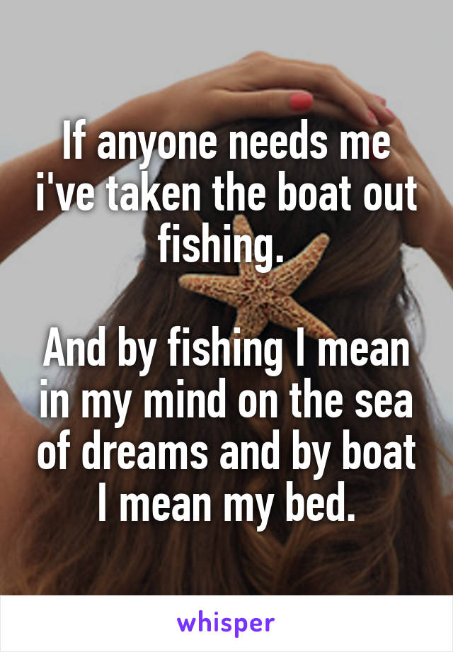 If anyone needs me i've taken the boat out fishing.   And by fishing I mean in my mind on the sea of dreams and by boat I mean my bed.