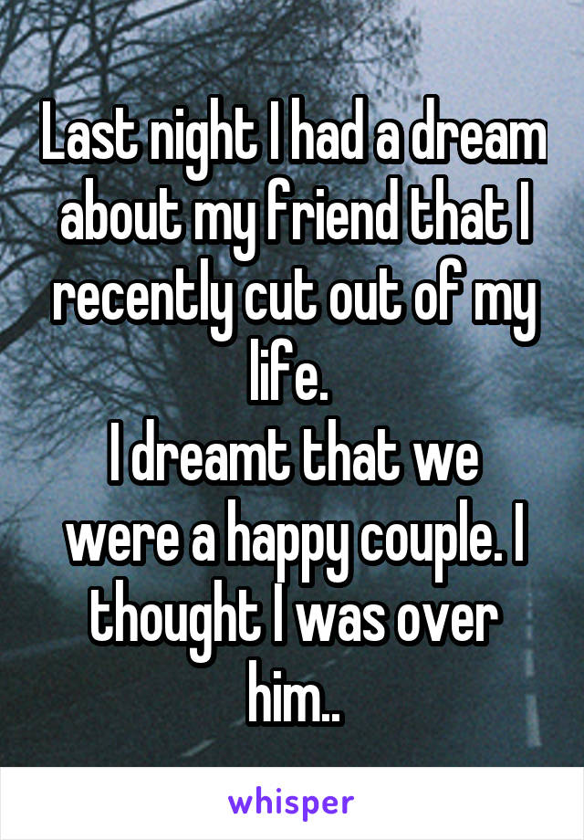 Last night I had a dream about my friend that I recently cut out of my life.  I dreamt that we were a happy couple. I thought I was over him..