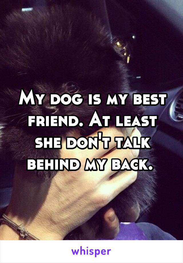 My dog is my best friend. At least she don't talk behind my back.