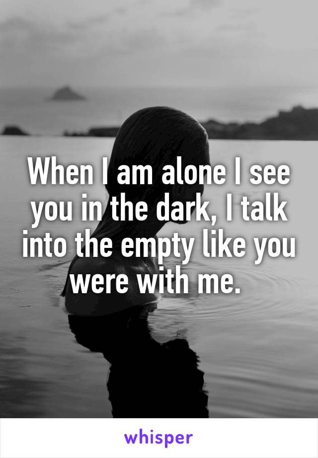 When I am alone I see you in the dark, I talk into the empty like you were with me.