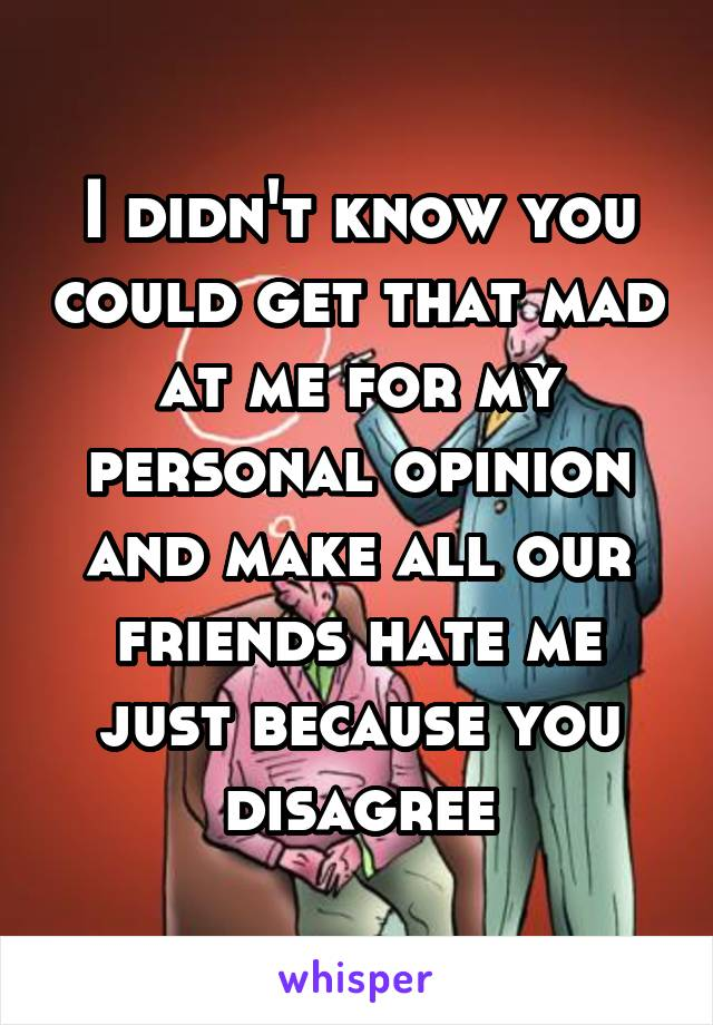 I didn't know you could get that mad at me for my personal opinion and make all our friends hate me just because you disagree