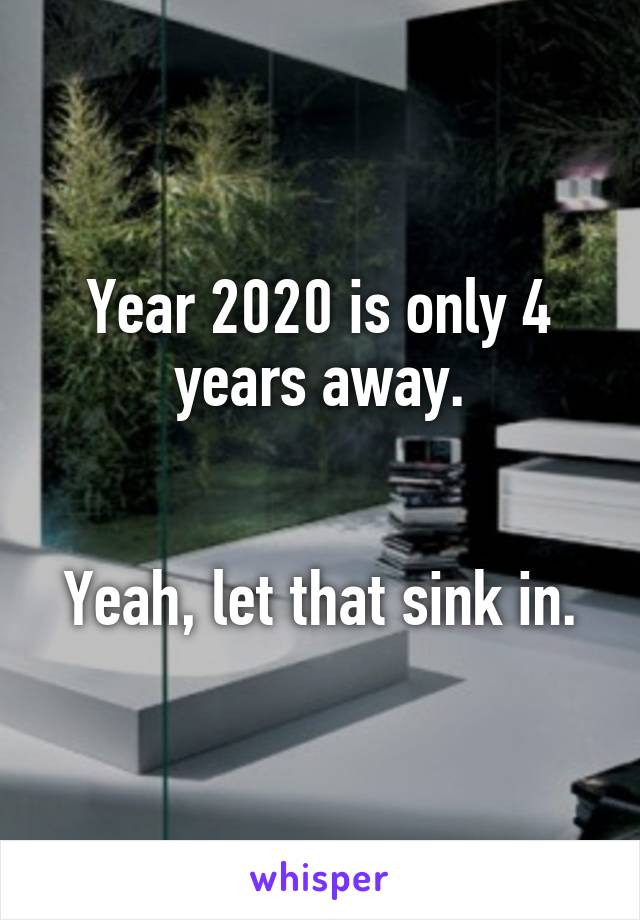 Year 2020 is only 4 years away.   Yeah, let that sink in.