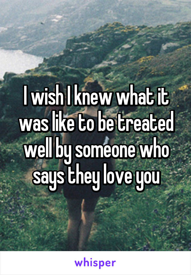 I wish I knew what it was like to be treated well by someone who says they love you