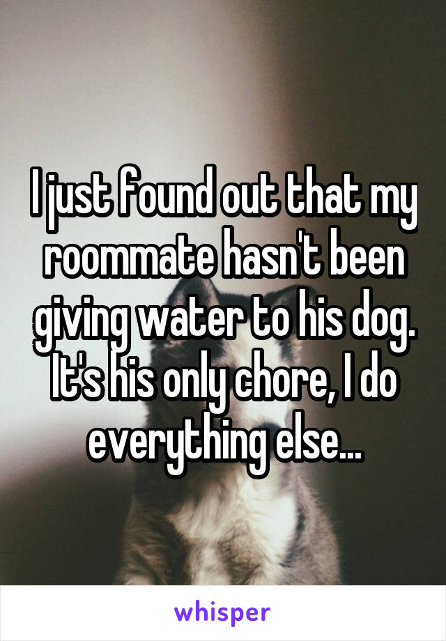 I just found out that my roommate hasn't been giving water to his dog. It's his only chore, I do everything else...