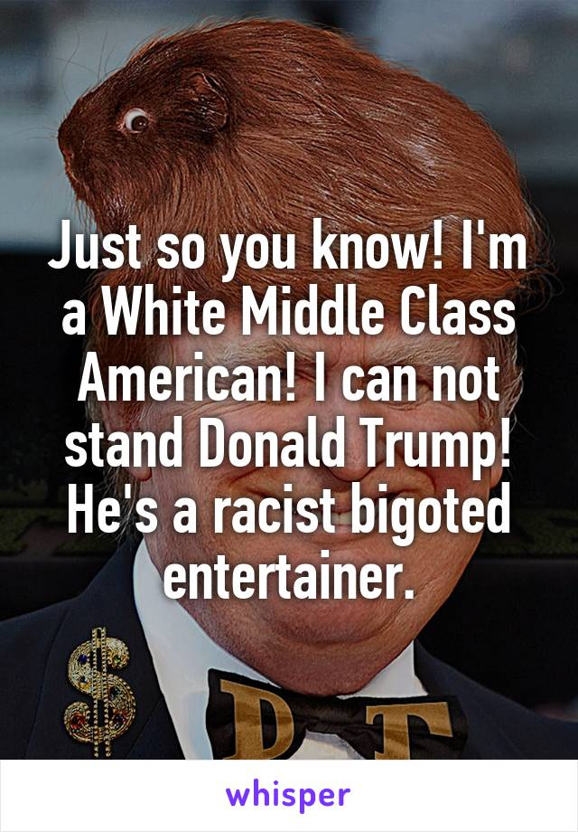 Just so you know! I'm a White Middle Class American! I can not stand Donald Trump! He's a racist bigoted entertainer.