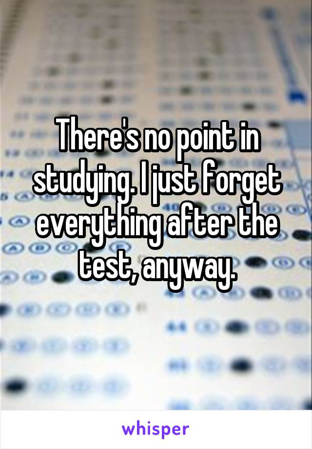 There's no point in studying. I just forget everything after the test, anyway.