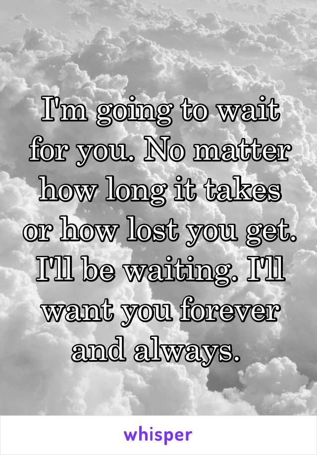 I'm going to wait for you. No matter how long it takes or how lost you get. I'll be waiting. I'll want you forever and always.