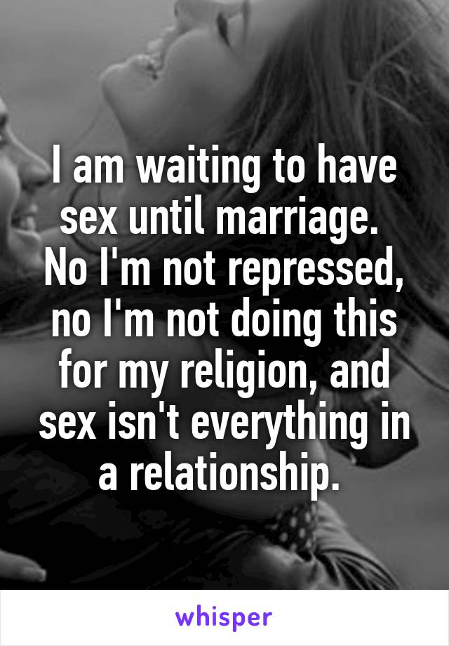 No sex til marriage