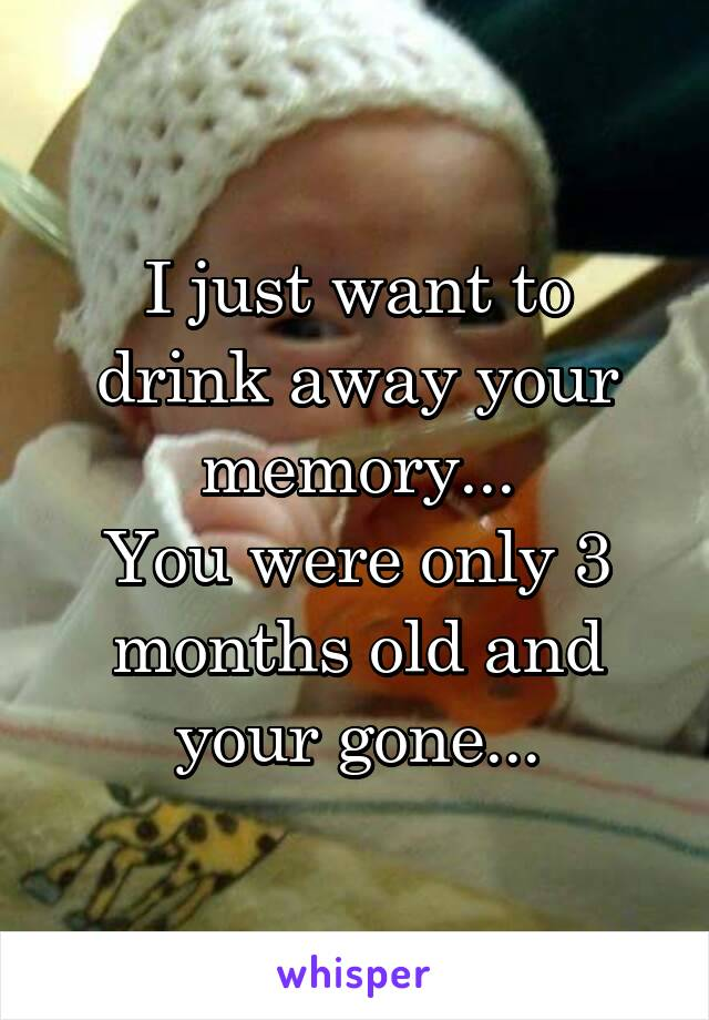 I just want to drink away your memory... You were only 3 months old and your gone...