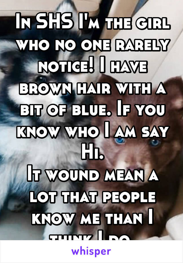 In SHS I'm the girl who no one rarely notice! I have brown hair with a bit of blue. If you know who I am say Hi. It wound mean a lot that people know me than I think I do.