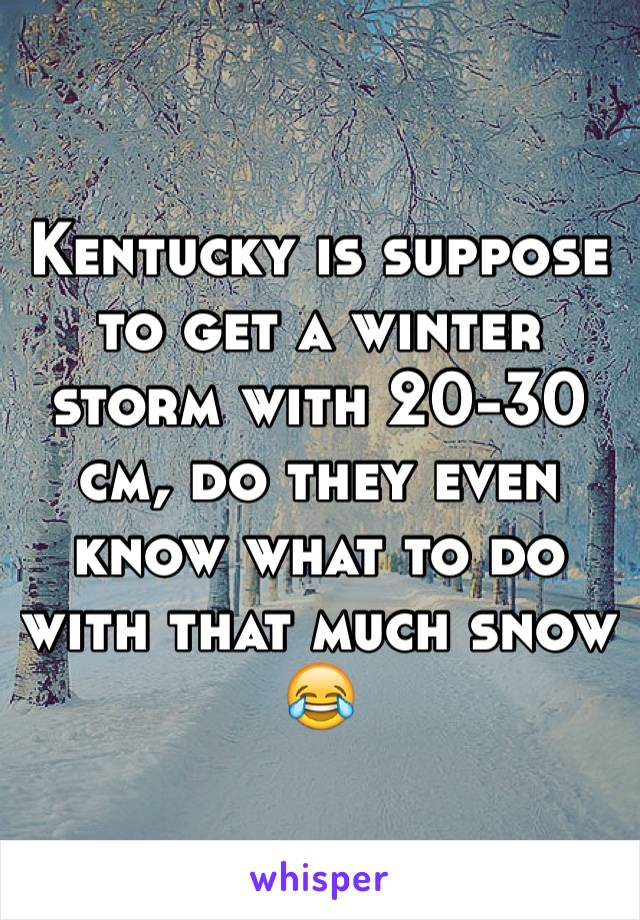 Kentucky is suppose to get a winter storm with 20-30 cm, do they even know what to do with that much snow 😂