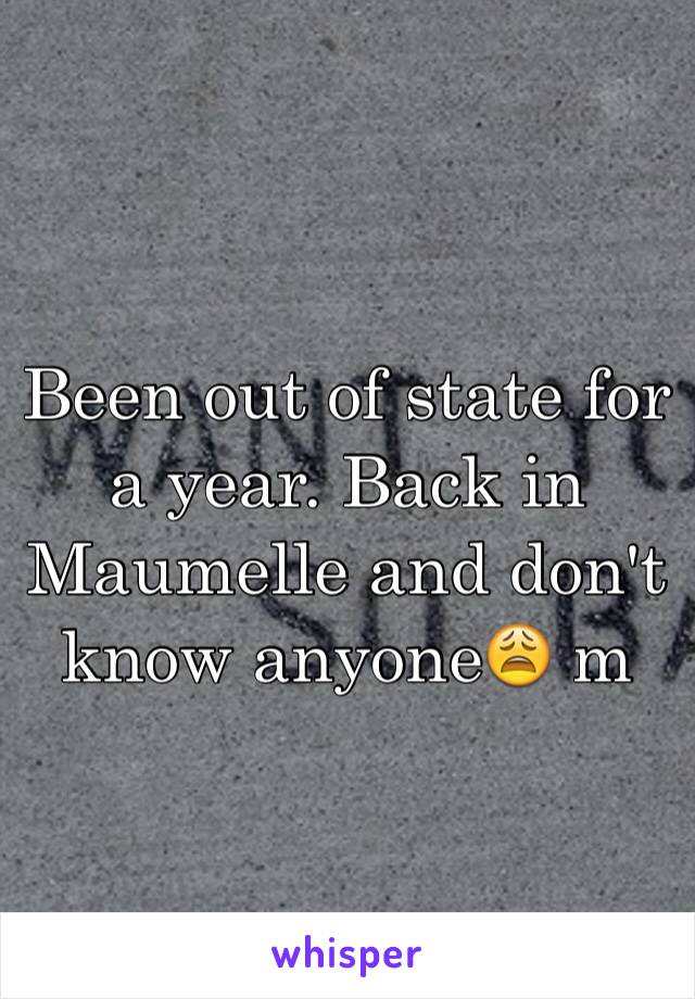 Been out of state for a year. Back in Maumelle and don't know anyone😩 m