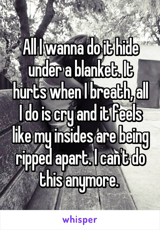 All I wanna do it hide under a blanket. It hurts when I breath, all I do is cry and it feels like my insides are being ripped apart. I can't do this anymore.