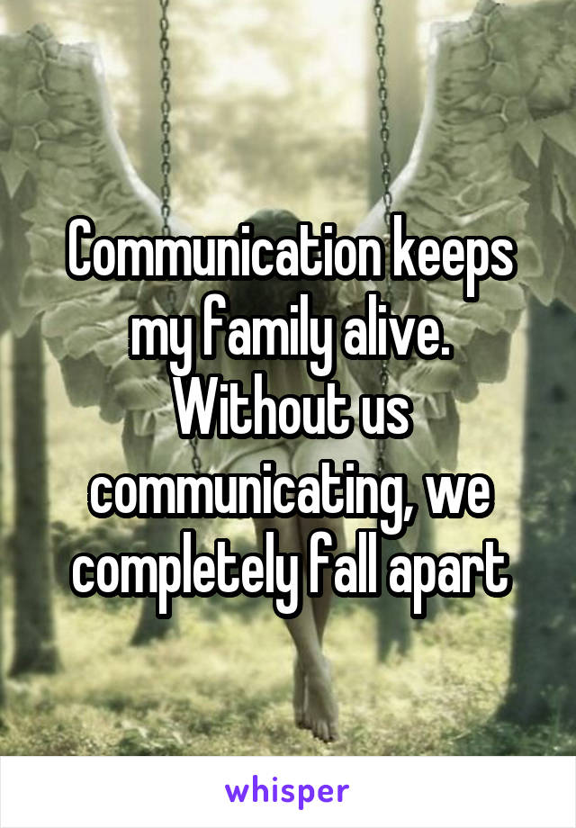 Communication keeps my family alive. Without us communicating, we completely fall apart