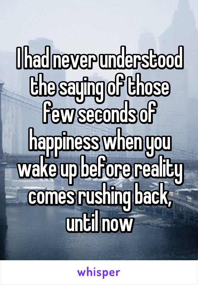 I had never understood the saying of those few seconds of happiness when you wake up before reality comes rushing back, until now