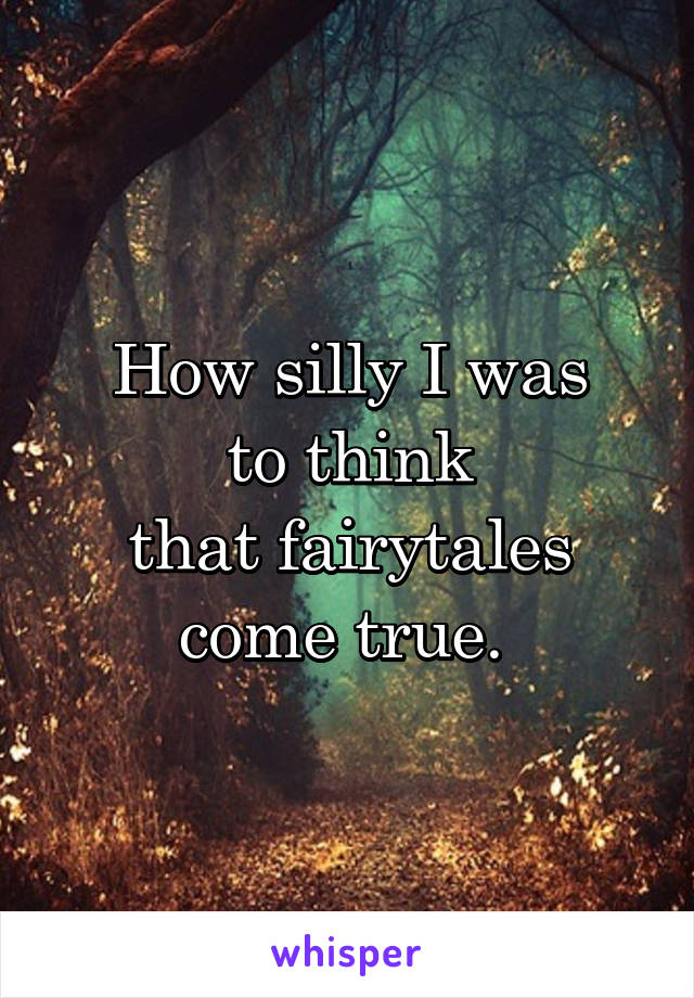 How silly I was to think that fairytales come true.