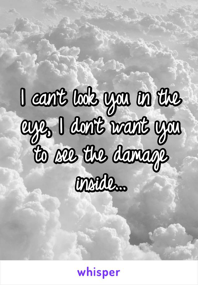 I can't look you in the eye, I don't want you to see the damage inside...