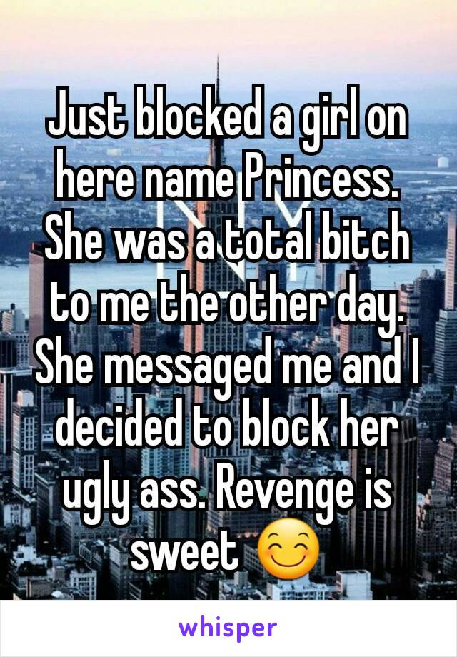 Just blocked a girl on here name Princess. She was a total bitch to me the other day. She messaged me and I decided to block her ugly ass. Revenge is sweet 😊