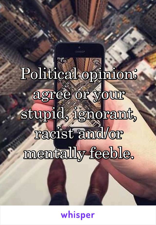 Political opinion; agree or your stupid, ignorant, racist and/or mentally feeble.