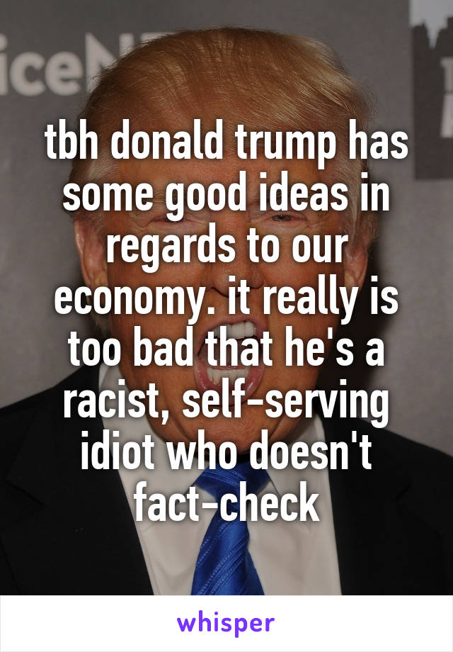 tbh donald trump has some good ideas in regards to our economy. it really is too bad that he's a racist, self-serving idiot who doesn't fact-check