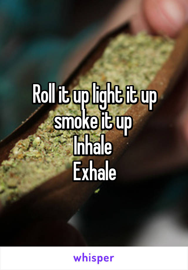 Roll it up light it up smoke it up  Inhale  Exhale