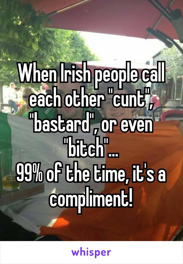 "When Irish people call each other ""cunt"", ""bastard"", or even ""bitch""… 99% of the time, it's a compliment!"