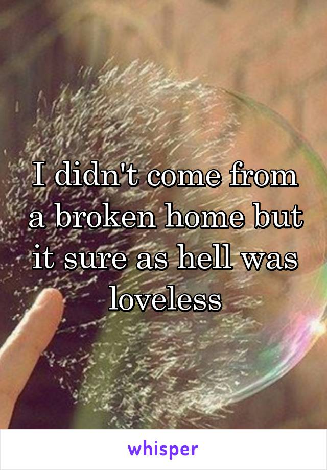 I didn't come from a broken home but it sure as hell was loveless