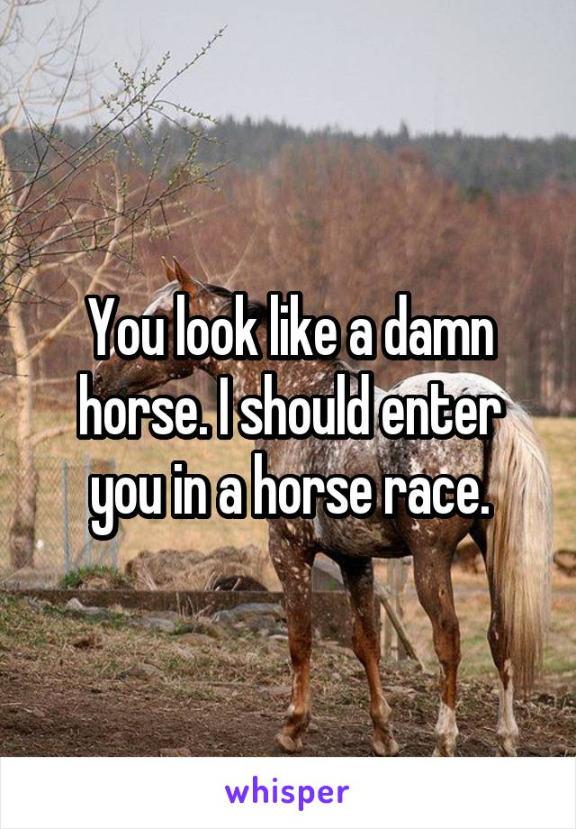 You look like a damn horse. I should enter you in a horse race.