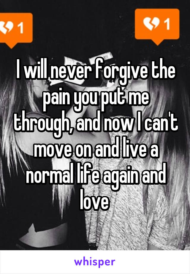 I will never forgive the pain you put me through, and now I can't move on and live a normal life again and love