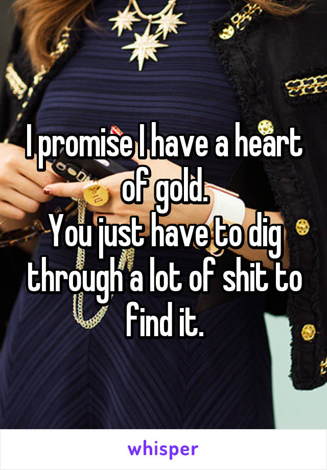 I promise I have a heart of gold. You just have to dig through a lot of shit to find it.