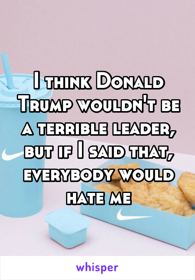 I think Donald Trump wouldn't be a terrible leader, but if I said that, everybody would hate me