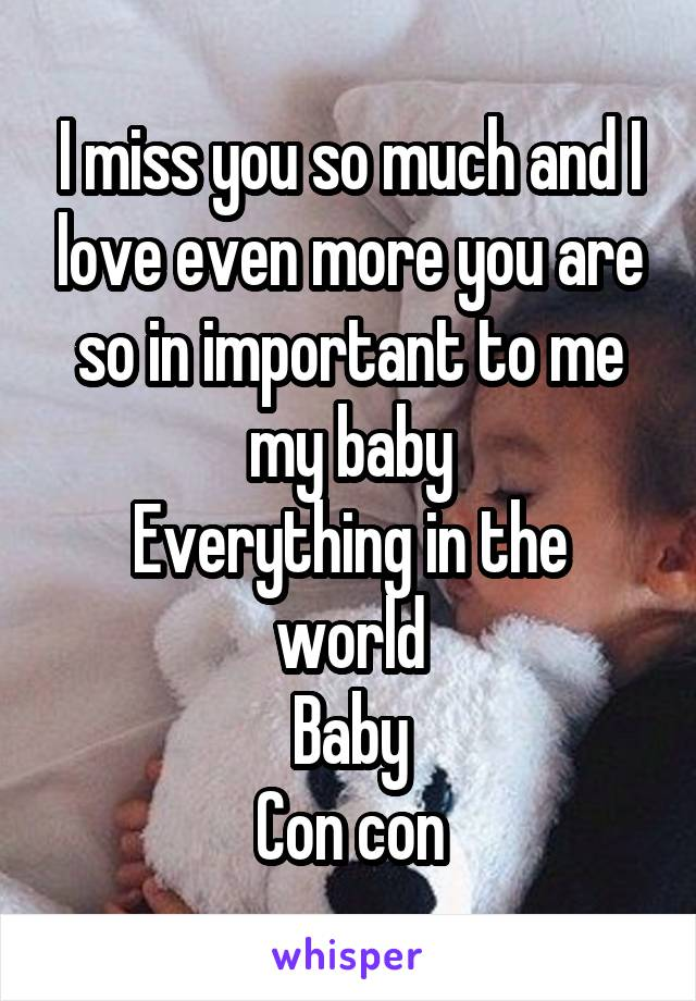 I miss you so much and I love even more you are so in important to me my baby Everything in the world Baby Con con