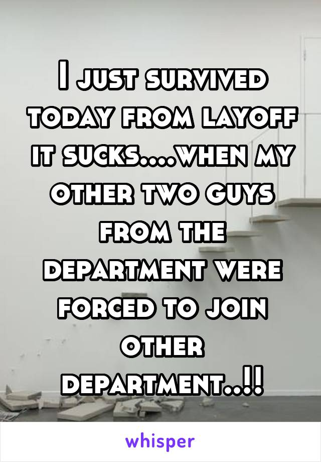 I just survived today from layoff it sucks....when my other two guys from the department were forced to join other department..!!