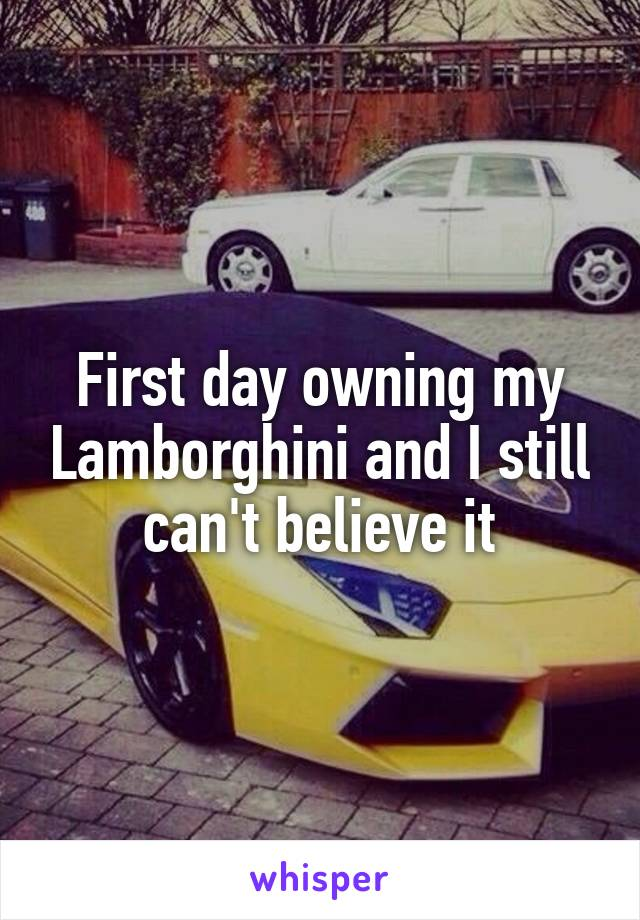 First day owning my Lamborghini and I still can't believe it