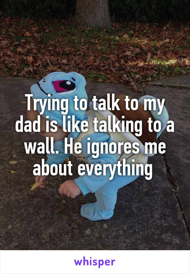 Trying to talk to my dad is like talking to a wall. He ignores me about everything