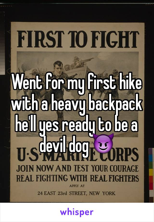Went for my first hike with a heavy backpack he'll yes ready to be a devil dog 😈