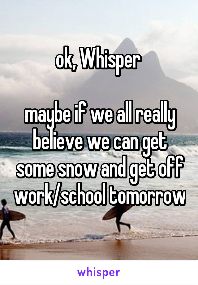 ok, Whisper   maybe if we all really believe we can get some snow and get off work/school tomorrow