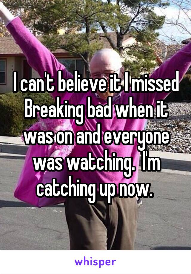 I can't believe it I missed Breaking bad when it was on and everyone was watching.  I'm catching up now.