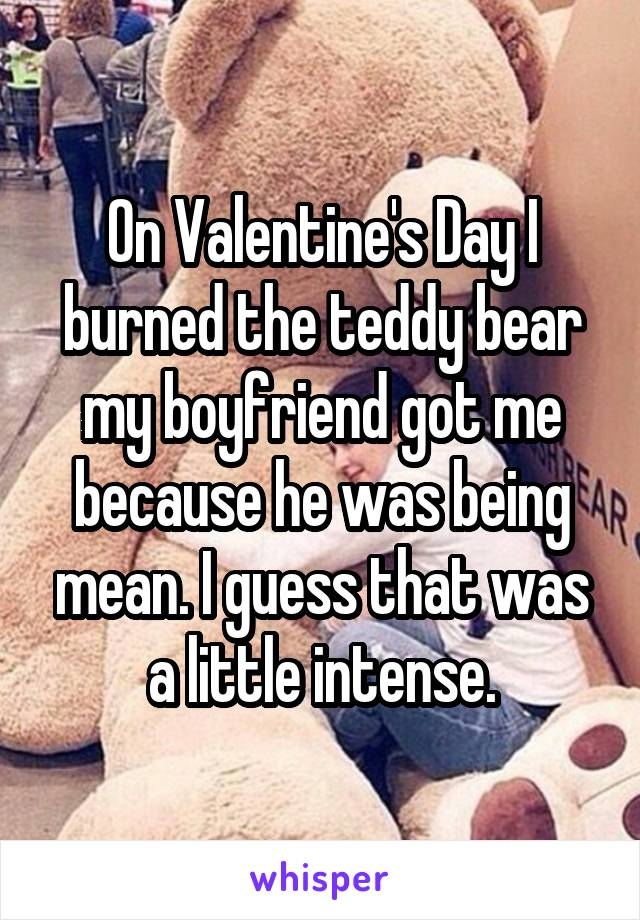On Valentine's Day I burned the teddy bear my boyfriend got me because he was being mean. I guess that was a little intense.