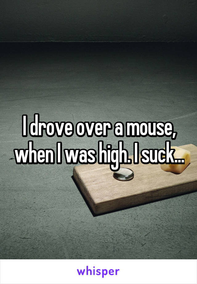 I drove over a mouse, when I was high. I suck...