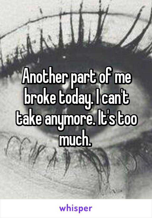 Another part of me broke today. I can't take anymore. It's too much.