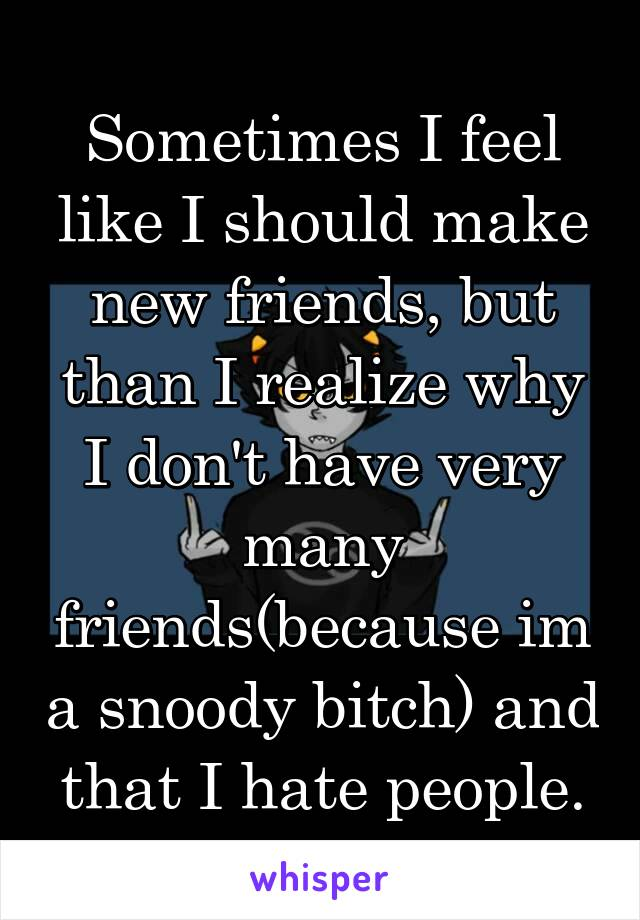 Sometimes I feel like I should make new friends, but than I realize why I don't have very many friends(because im a snoody bitch) and that I hate people.