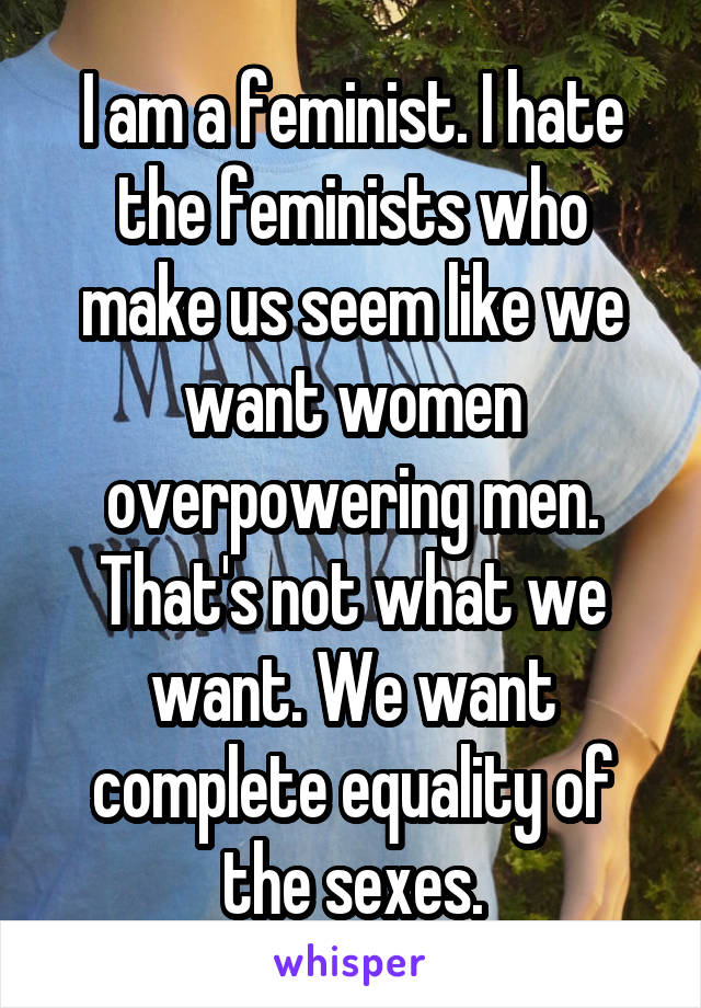 I am a feminist. I hate the feminists who make us seem like we want women overpowering men. That's not what we want. We want complete equality of the sexes.