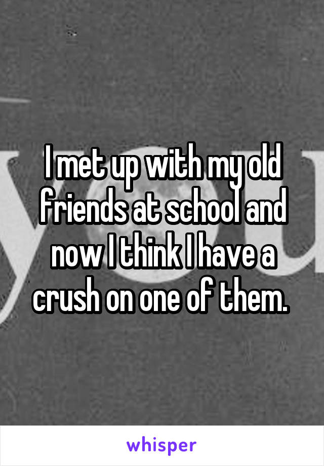 I met up with my old friends at school and now I think I have a crush on one of them.
