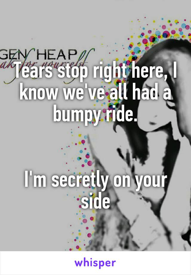 Tears stop right here, I know we've all had a bumpy ride.   I'm secretly on your side