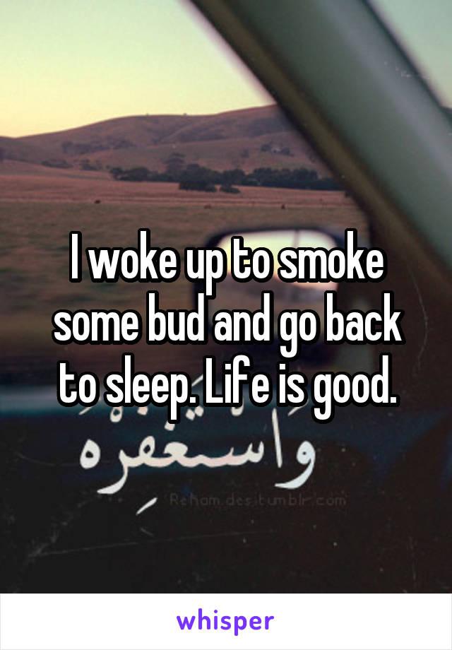 I woke up to smoke some bud and go back to sleep. Life is good.
